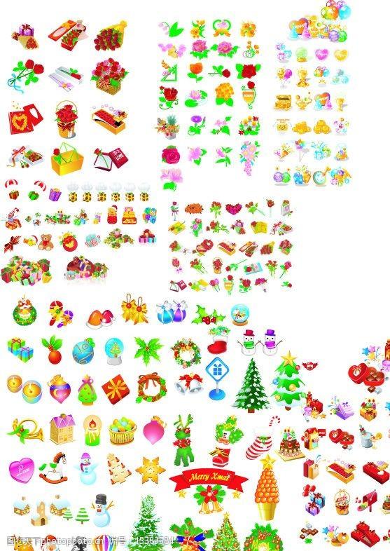 圣诞节饰物圣诞礼物和圣诞素材和鲜花图片
