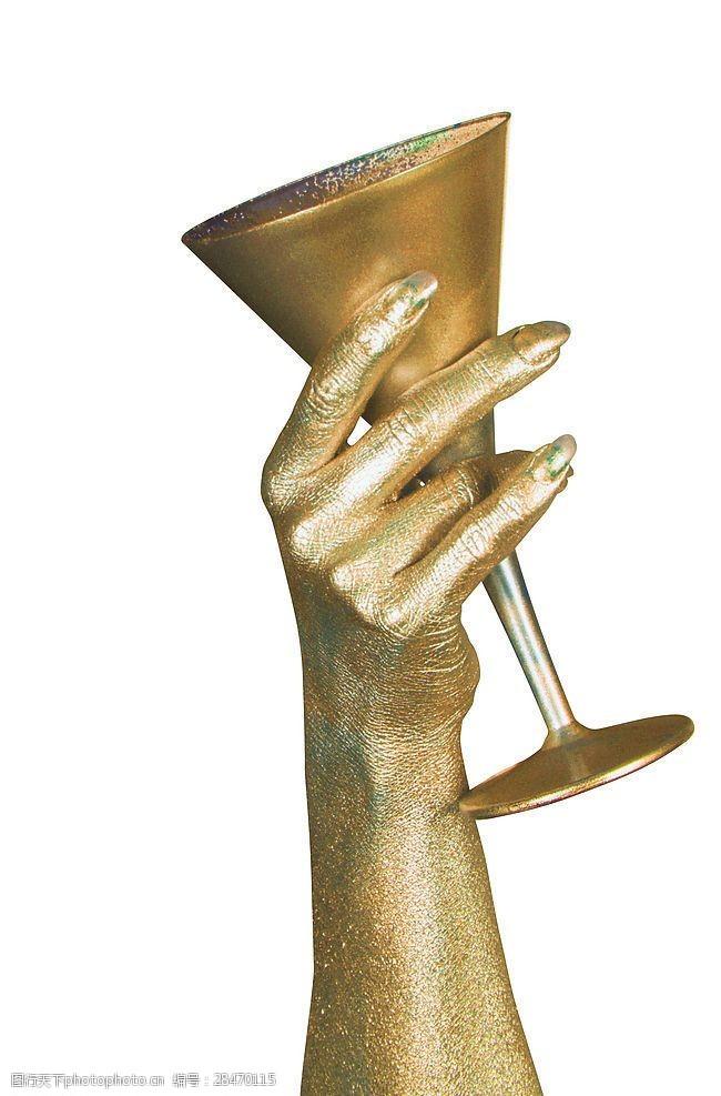抬手金属举杯的手势造型