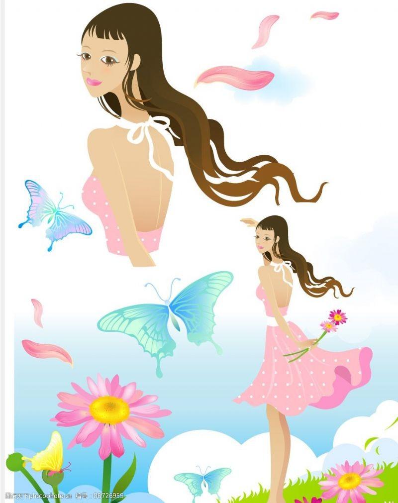 蝴蝶飞扬花仙子图片