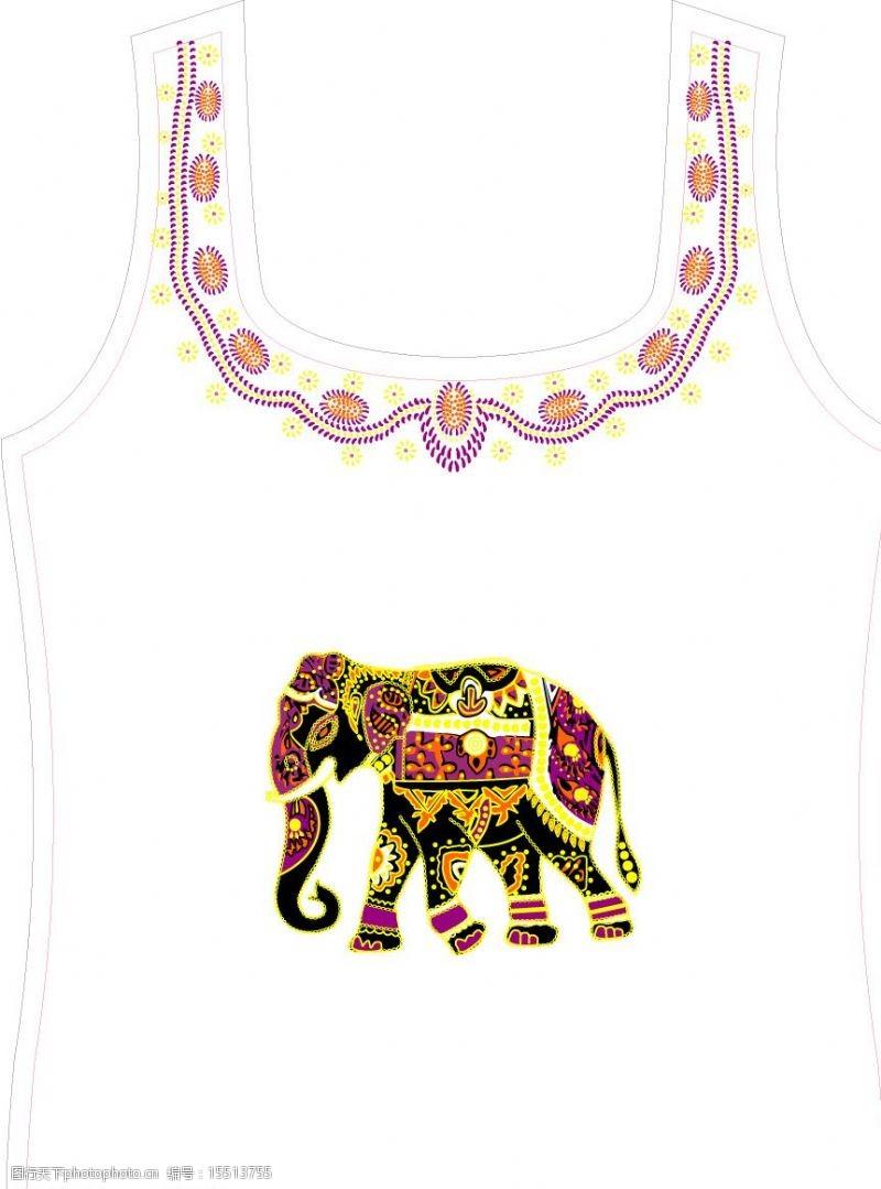 背心图案-大象图片