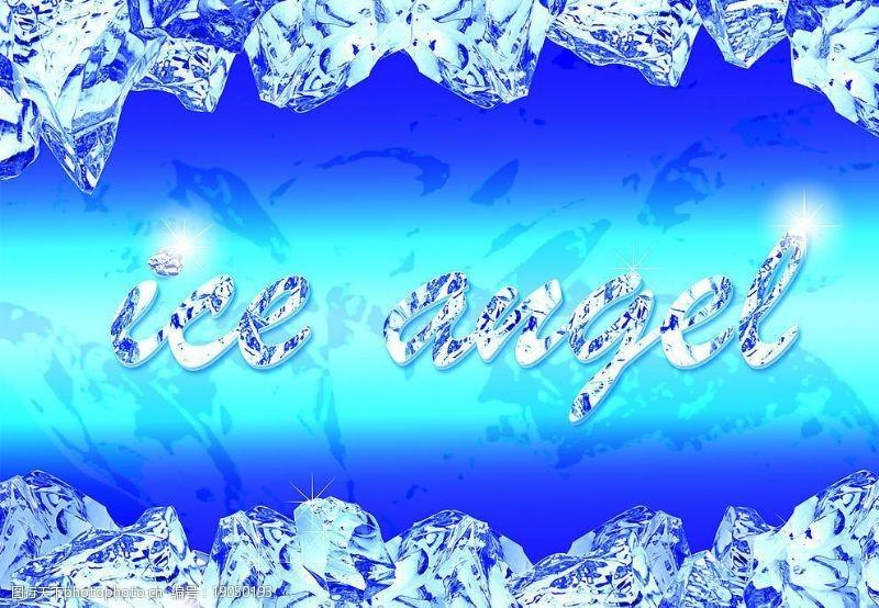 蓝色冰块背景冰图片