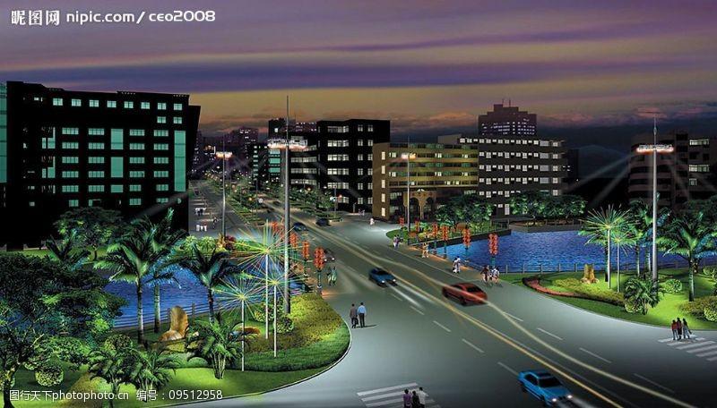 湖水情侣城市夜景图片