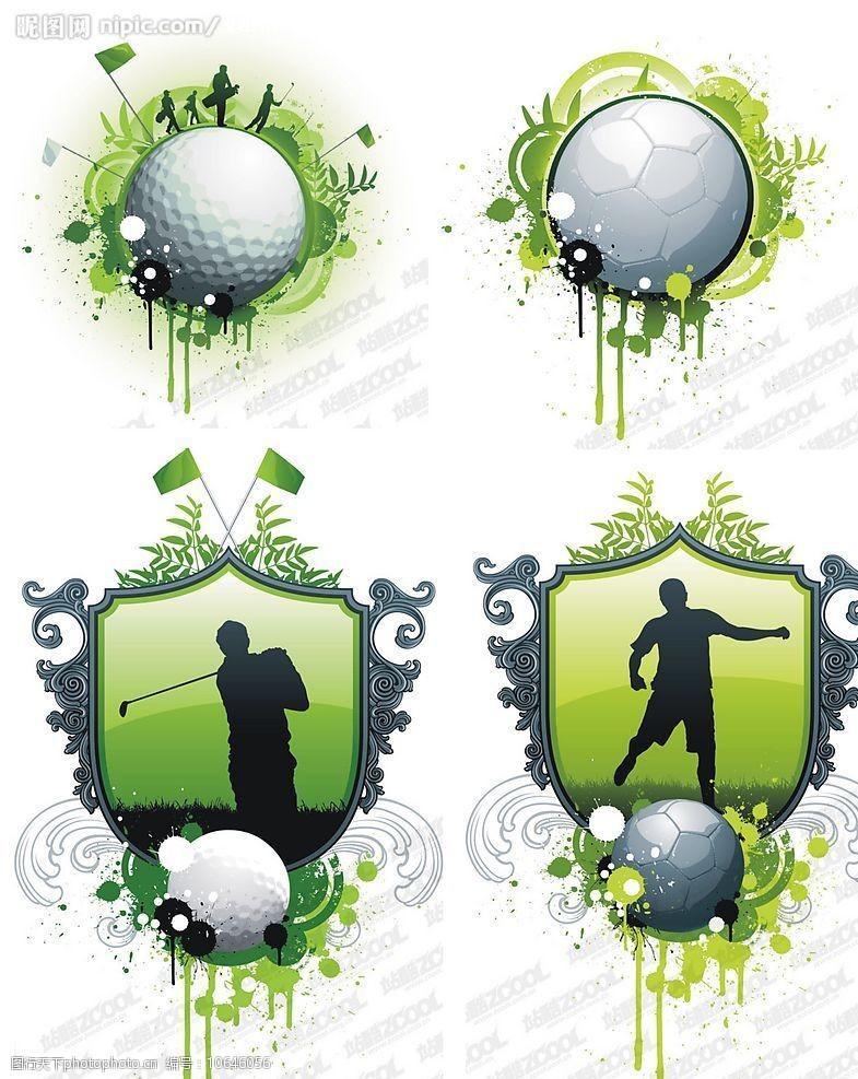 高尔夫与足球主题矢量素材图片